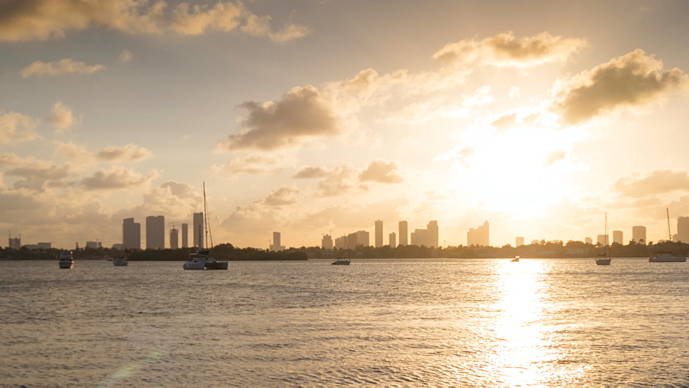 Moving timelapse of Downtown Miami at sunset from South Beach, South Beach, Miami, Florida, USA - 844-14337