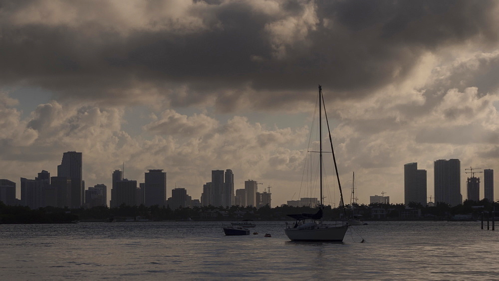 Timelapse of Downtown Miami at sunset from South Beach, South Beach, Miami, Florida, USA - 844-14338