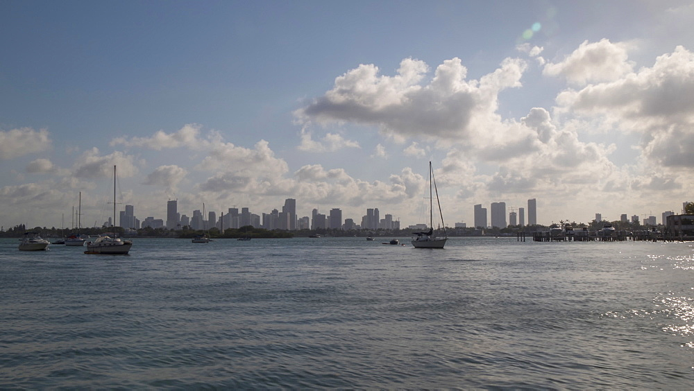 Timelapse of Downtown Miami at sunset from South Beach, South Beach, Miami, Florida, USA - 844-14339
