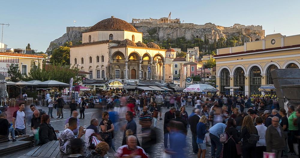 Time Lapse of Monastiraki Square with Acropolis visible in background, Athens, Greece, Europe - 844-14898