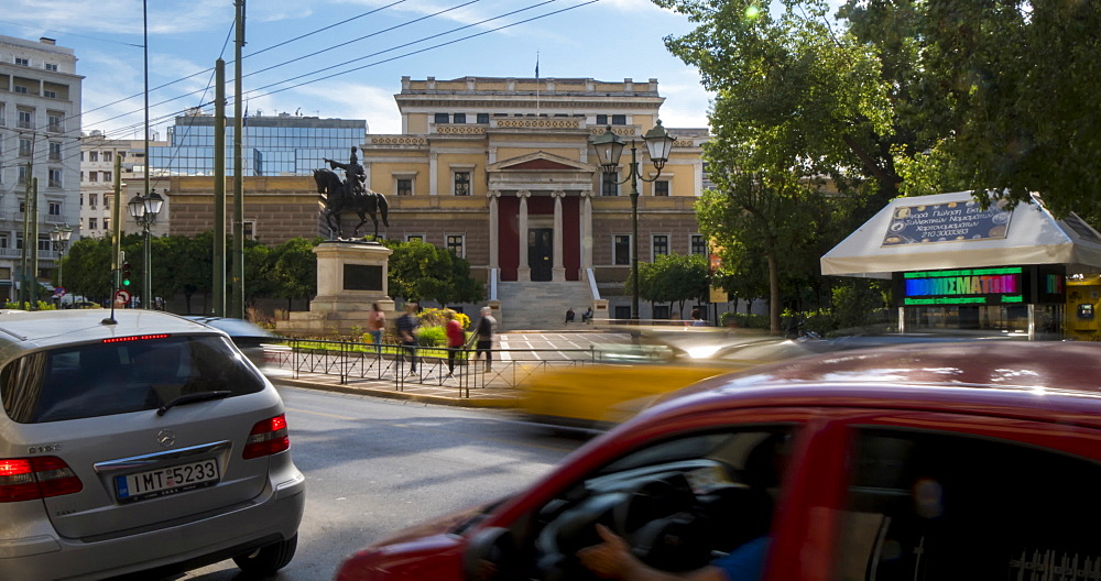 Time Lapse of traffic and Byzantine and Christian Museum, Athens, Greece, Europe - 844-14900