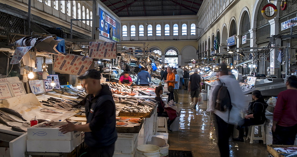 Time Lapse of interior of Athens Central Meat and Fish Market, Athens, Greece, Europe - 844-14901