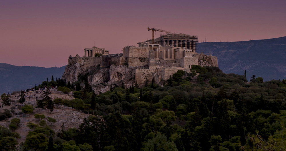 Time Lapse of sun setting on the Acropolis, Athens, Greece, Europe - 844-14903