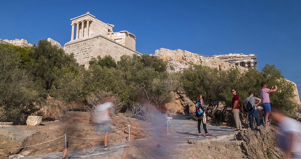 Time Lapse of visitors at Temple of Athena Nike & the Acropolis, Athens, Greece, Europe - 844-14905