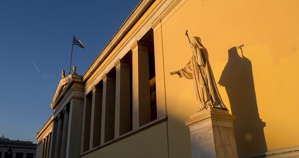 Time Lapse of sun setting on the Deanery University of Athens, Athens, Greece, Europe - 844-14906