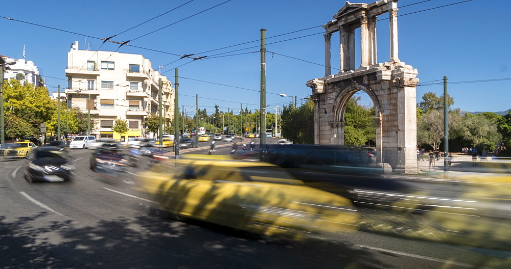 Time Lapse of traffic near Hadrian's Arch, Athens, Greece, Europe - 844-14909