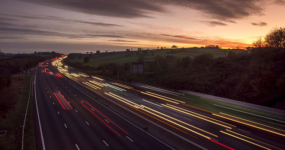 Time lapse of M1 Motorway and sunset at Tibshelf, Derbyshire, England, United Kingdom, Europe