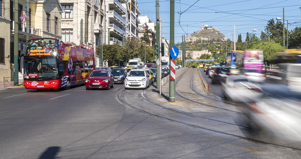 Time Lapse of traffic near Hadrian's Arch with Mount Lycabettus visible, Athens, Greece, Europe - 844-14911