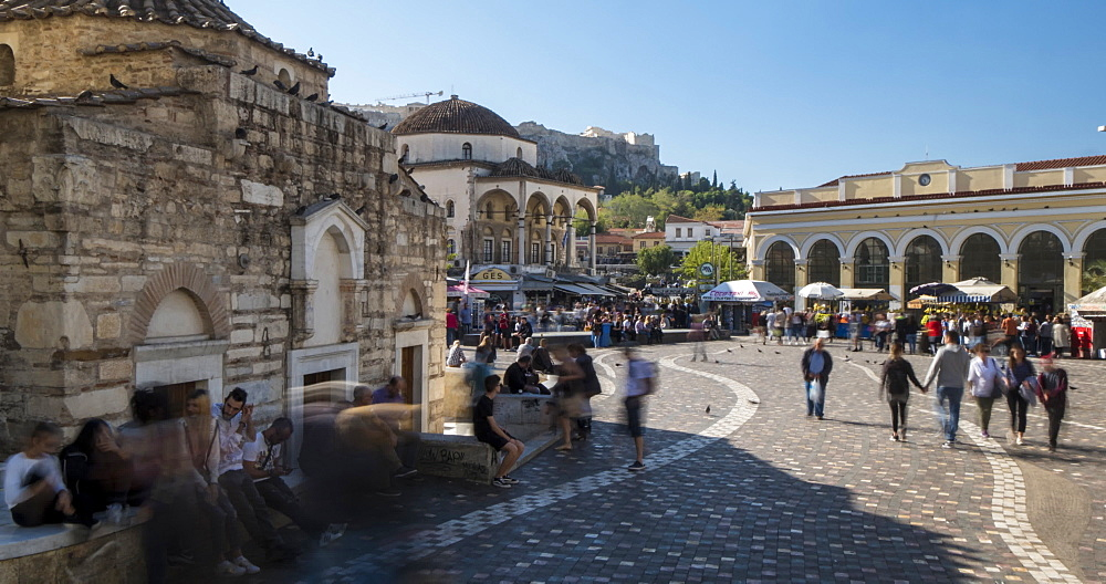 Time Lapse of Monastiraki Square with Acropolis visible in background, Athens, Greece, Europe - 844-14913