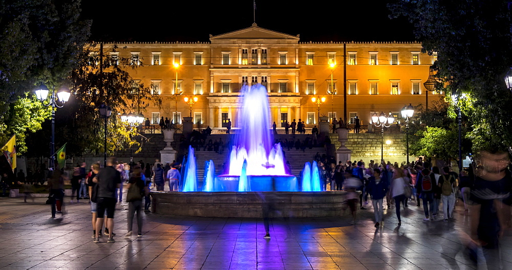 Time Lapse of Syntagma Square and Parliament at night, Athens, Greece, Europe - 844-14917