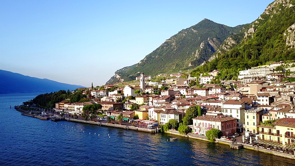Aerial view of the bay of Limone sul Garda, Lombardy, Italian Lakes, Italy, Europe - 844-14950