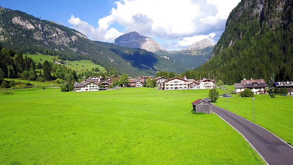 Aerial view near Possa di Fassa, Val di Fassa, Province of Trento, Trentino, Dolomites, Italy, Europe - 844-14963