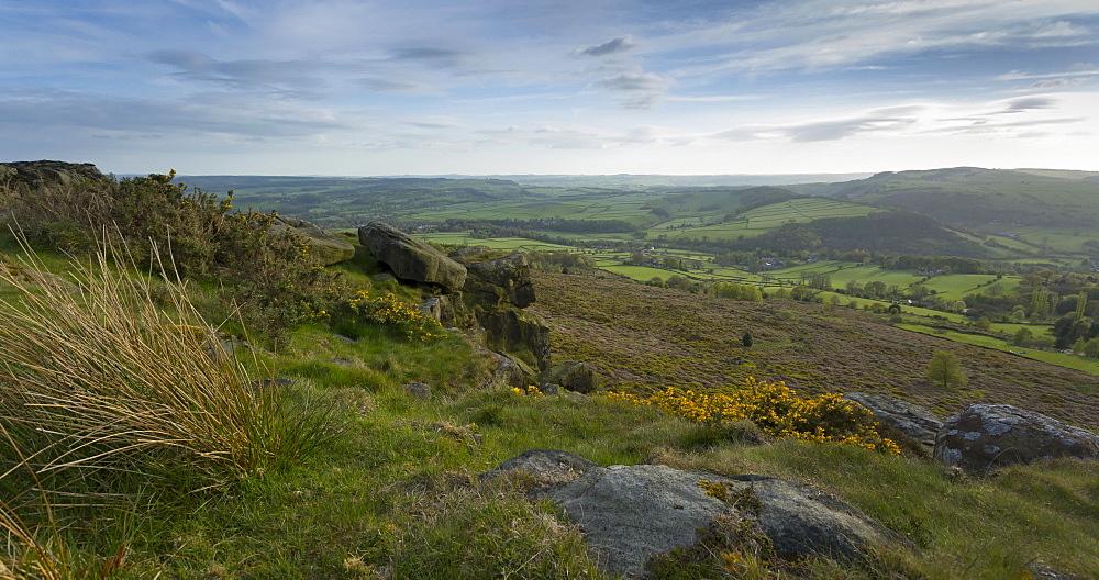 Time lapse of Baslow Edge towards Chatsworth, Baslow, Derbyshire Dales, Derbyshire, England, United Kingdom, Europe