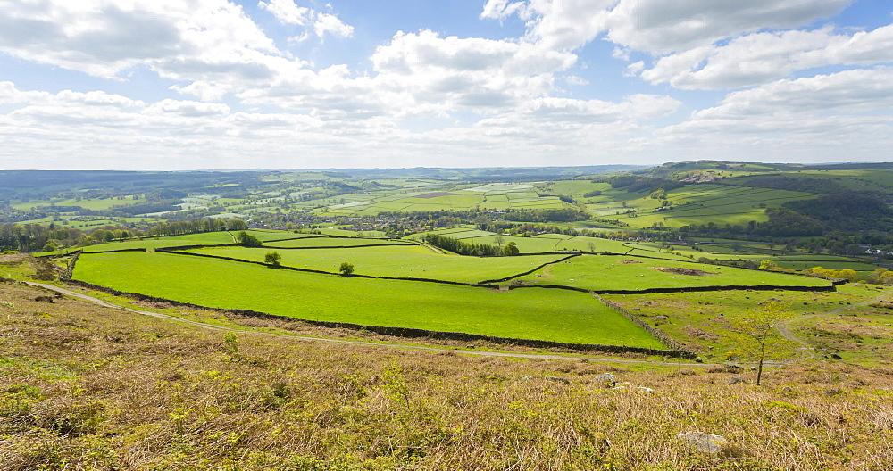 Moving time lapse of Baslow Edge towards Chatsworth, Baslow, Derbyshire Dales, Derbyshire, England, United Kingdom, Europe