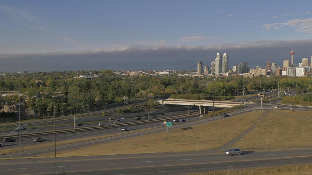 View of Memorial Drive freeway into Calgary and city skyline, Calgary, Alberta, Canada, North America