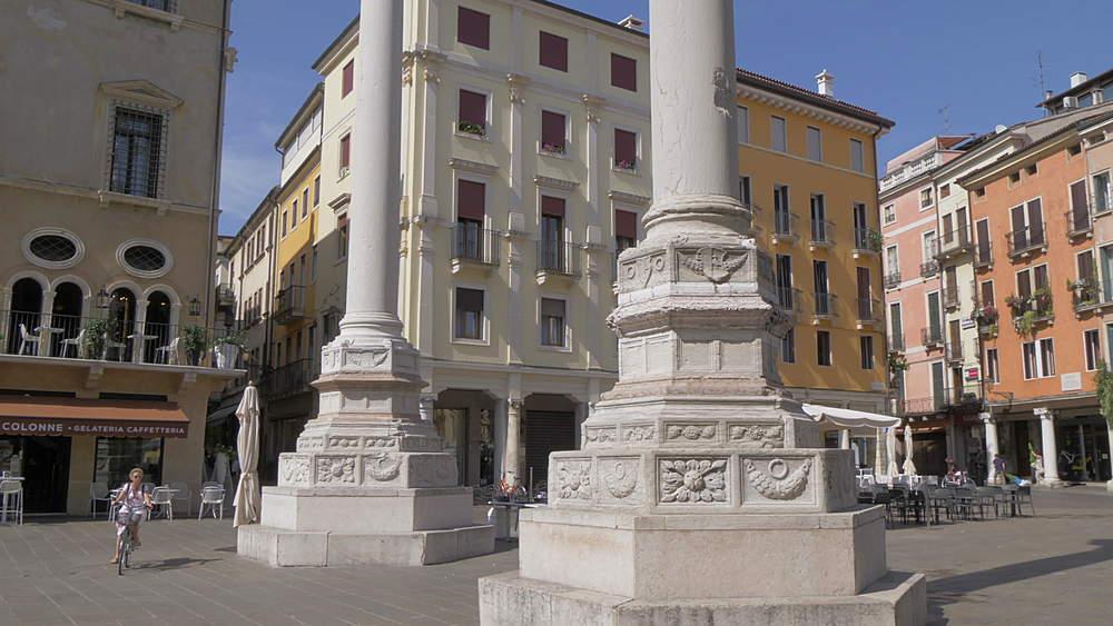 View of two columns in Piazza dei Signori, Vicenza, Veneto, Italy, Europe