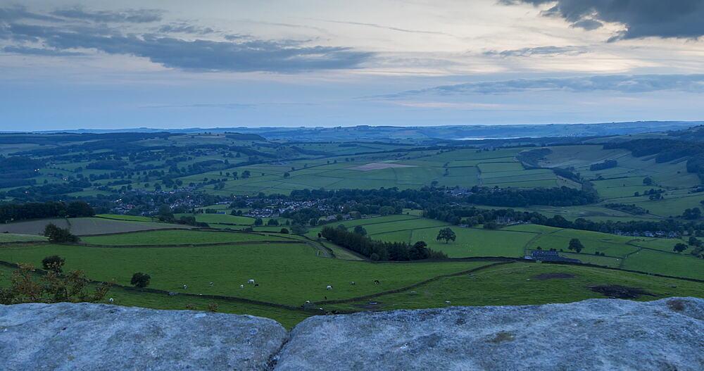 Turning time lapse from Baslow Edge, Baslow, Peak District National Park, Derbyshire, England, United Kingdom, Europe