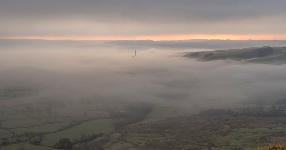 time lapse early morning mist in the Hope Valley, Castleton, Peak District National Park, Derbyshire, England, United Kingdom, Europe
