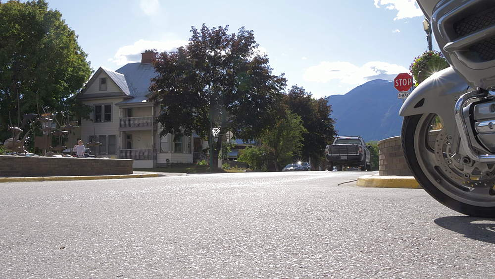 View of Main Street and motorcycle, Revelstoke, British Columbia, Canada, North America