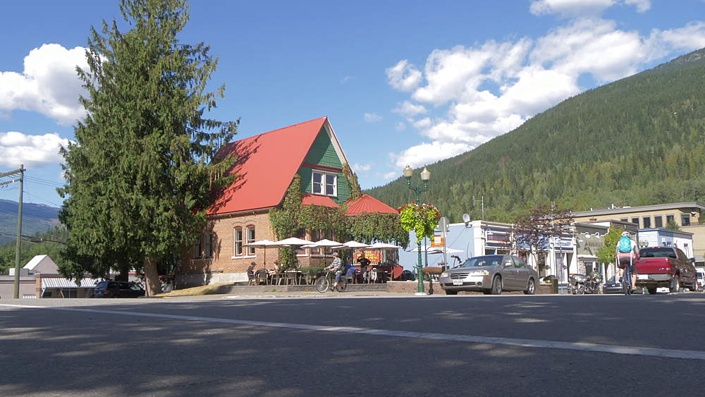 View of Main Street Cafe and motorcycle, Revelstoke, British Columbia, Canada, North America