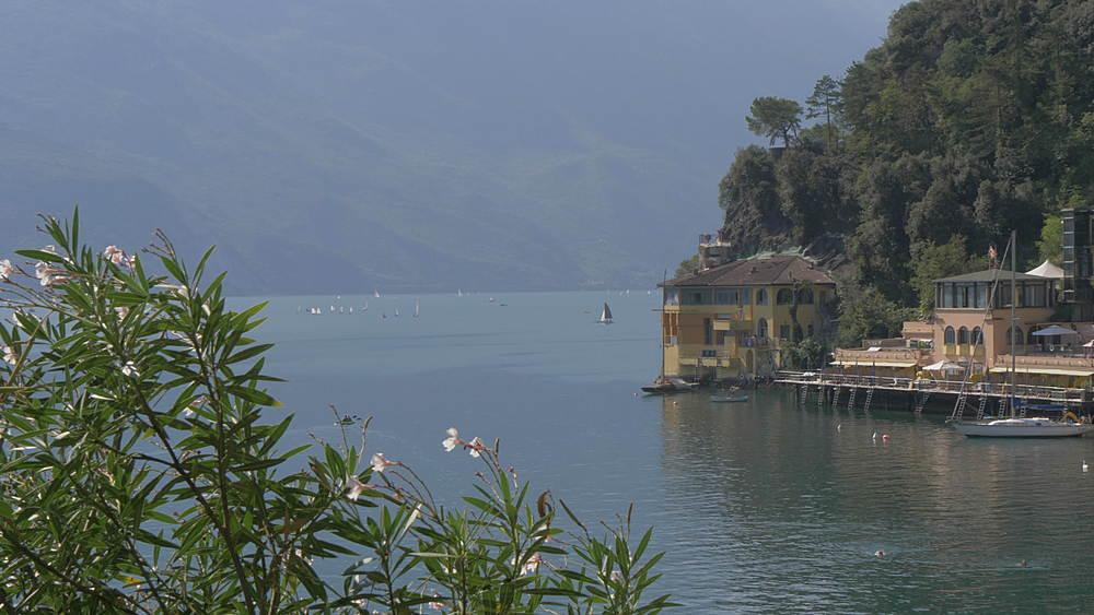 View of water sport activity on Lake Garda near Riva del Garda, Lake Garda, Province of Trento, Italy, Europe