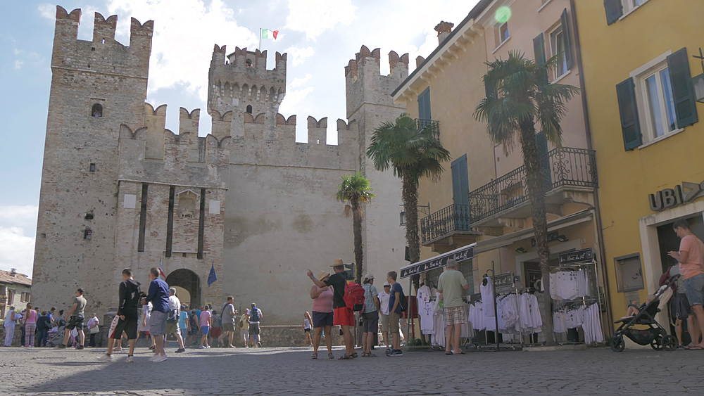 Slider shot of Scaliger Castle in Piazza Castello, Sirmione, Lake Garda, Lombardy, Italy, Europe - 844-15814