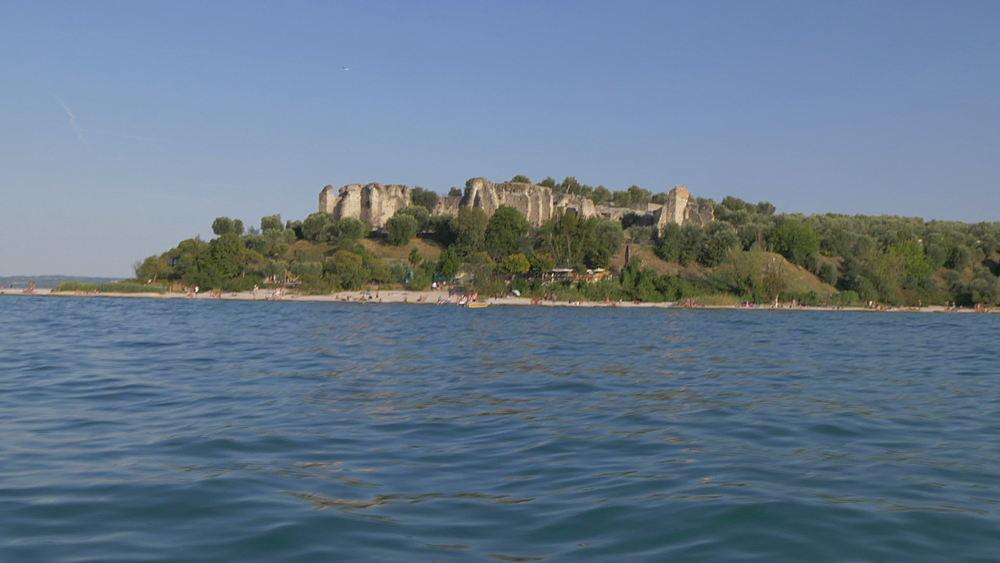On board boat touring Lake Garda near Sirmione, Lake Garda, Lombardy, Italy, Europe - 844-15832