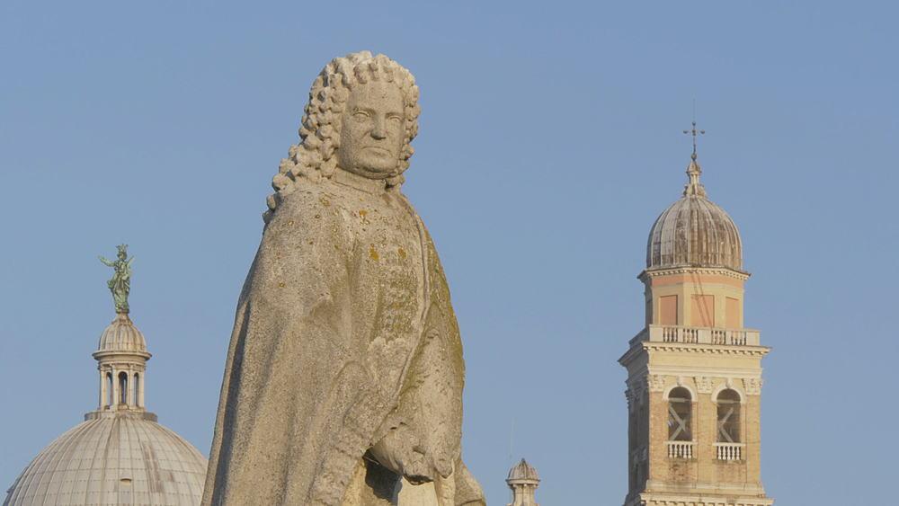 View of statues in Prato della Valle and Santa Giustina Basilica visible in background, Padua, Veneto, Italy, Europe - 844-15845