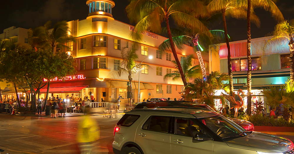 Time Lapse of activity on Ocean Drive at night, South Beach, Miami, Florida, USA, North America