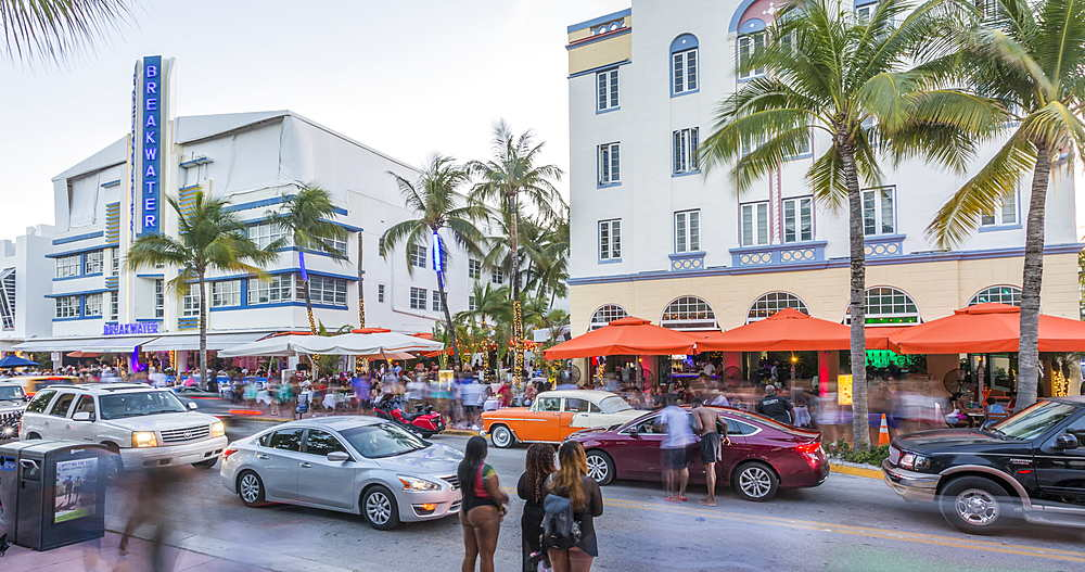 Time Lapse of activity on Ocean Drive at dusk, South Beach, Miami, Florida, USA, North America