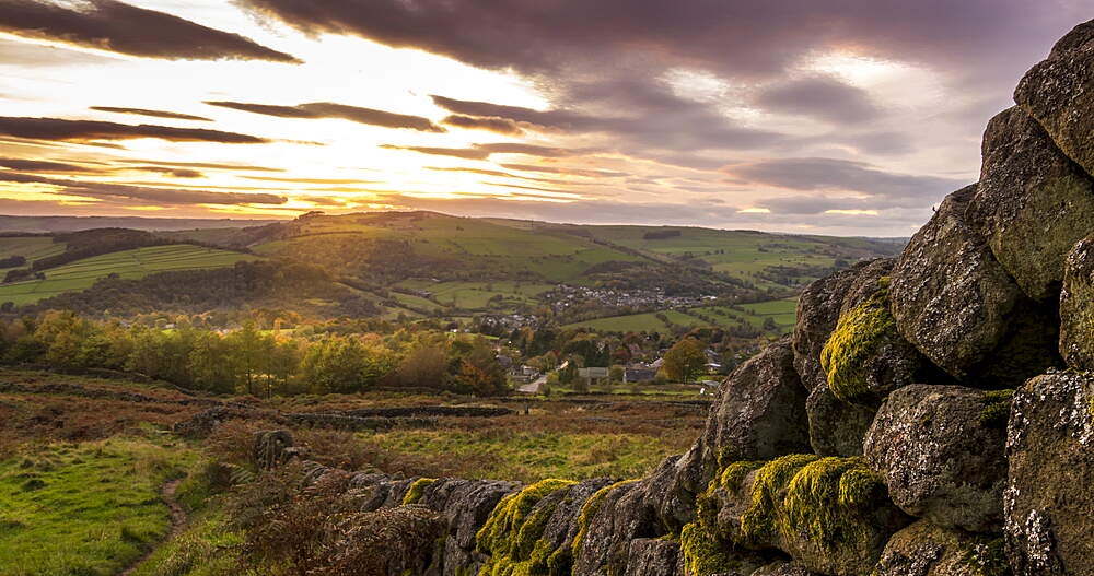 Time Lapse of sunset from Baslow Edge over Calver, Peak District National Park, Derbyshire, England, UK, Europe