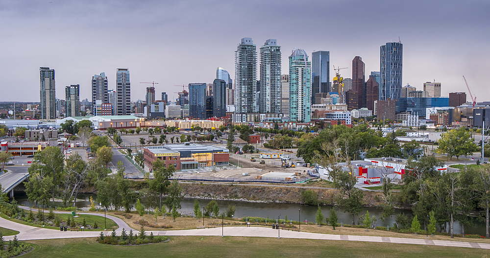 Time lapse of Bow River and Downtown from Sunnyside Bank Park, Calgary, Alberta, Canada, North America