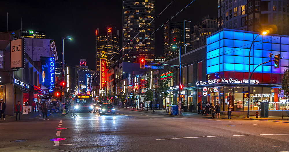 Time lapse of activity on Nelson Street at night, Vancouver, British Columbia, Canada, North America