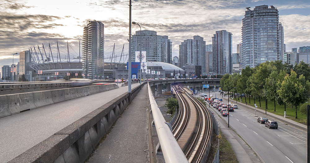 Time lapse of traffic on A1 Freeway and BC Place Stadium visible in background, Vancouver, British Columbia, Canada, North America
