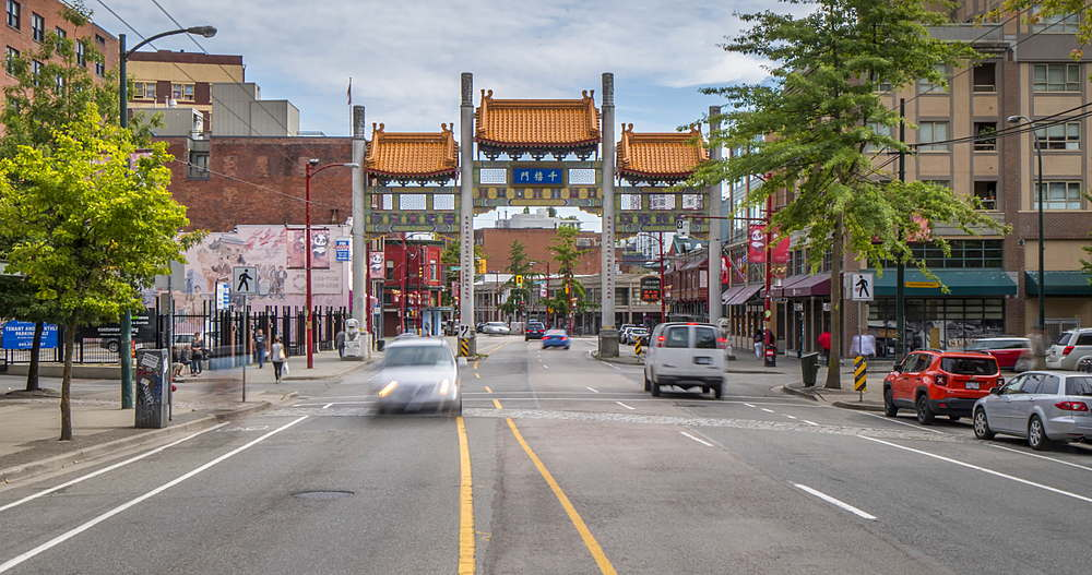 Time lapse of traffic activity and Chinatown entrance, Vancouver, British Columbia, Canada, North America - 844-15931