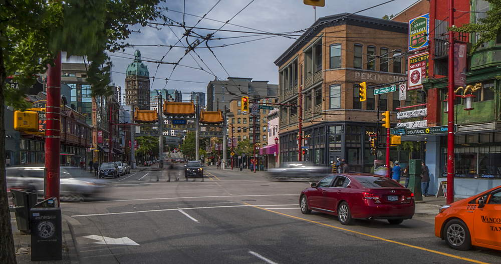 Time lapse of traffic activity and Chinatown entrance, Vancouver, British Columbia, Canada, North America