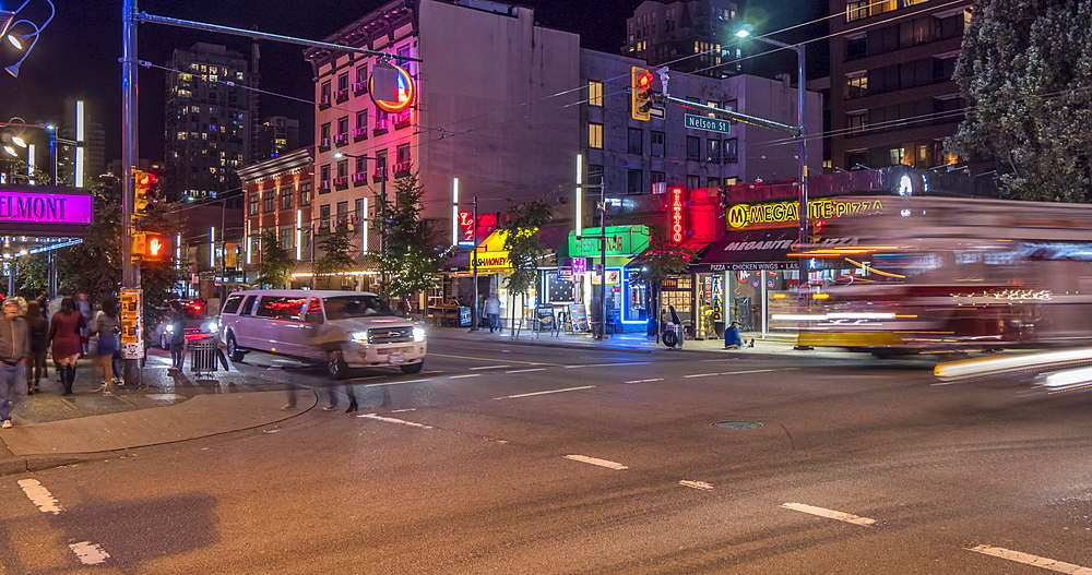 Time lapse of traffic and other activity at night, Granville Street, Vancouver, British Columbia, Canada, North America