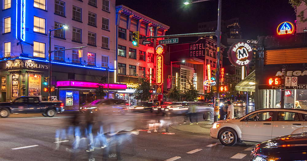 Time lapse of traffic and other activity at night, Nelson Street, Vancouver, British Columbia, Canada, North America