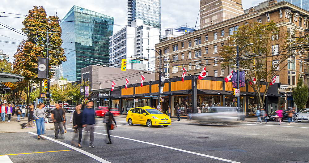 Time lapse of traffic and other activity, Robson Street, Vancouver, British Columbia, Canada, North America