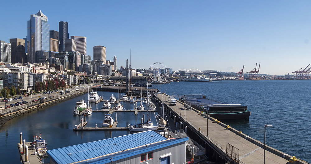 Turning Time lapse of Waterfront, harbour and City skyline from near Pike Place Market, Seattle, Washington, USA, North America - 844-15952