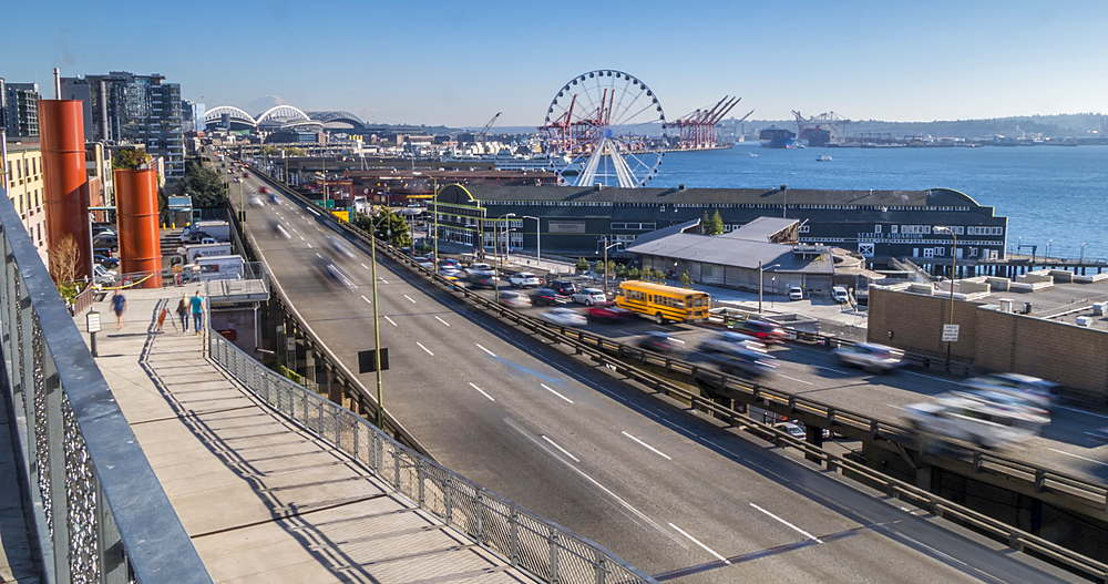 Turning Time lapse of Waterfront, harbour and City skyline from near Pike Place Market, Seattle, Washington, USA, North America - 844-15960