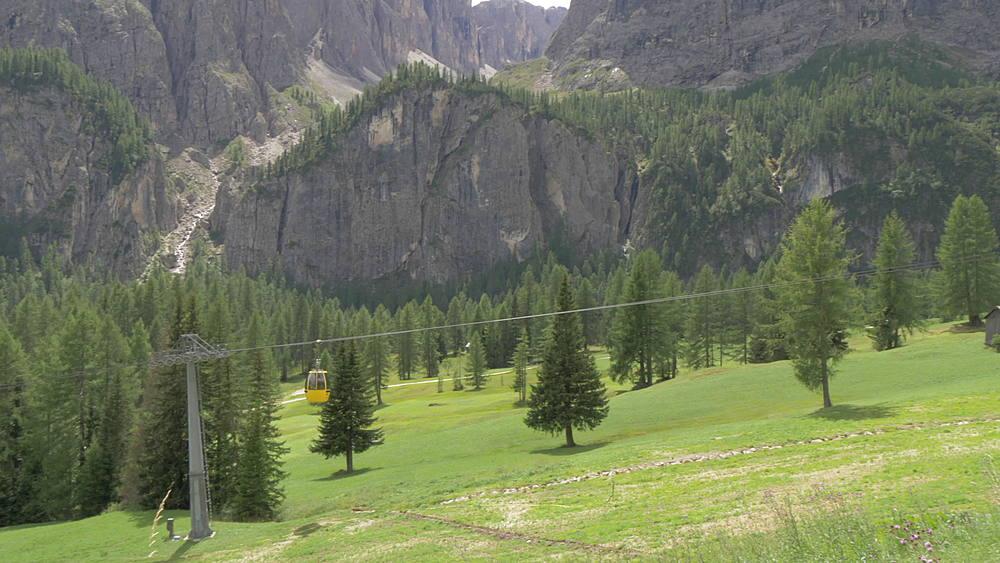 Panning shot of cable cars near Corvara, Alta Badia, Province of Belluno, Italian Dolomites, Italy, Europe - 844-16003