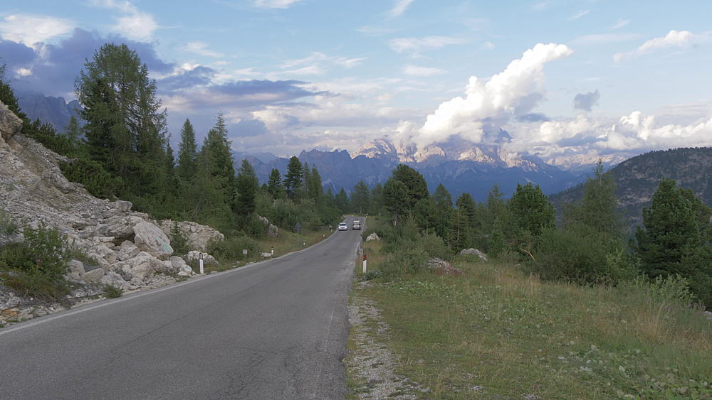 Road and landscape from Marmolada Pass at sunset, South Tyrol, Italian Dolomites, Italy, Europe - 844-16085