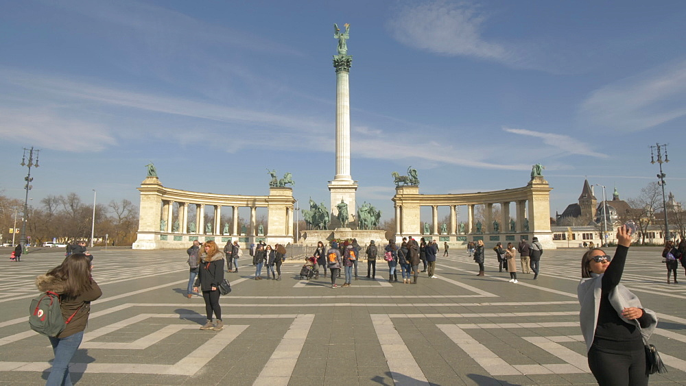 Heroes Square during winter, Budapest, Hungary, Europe