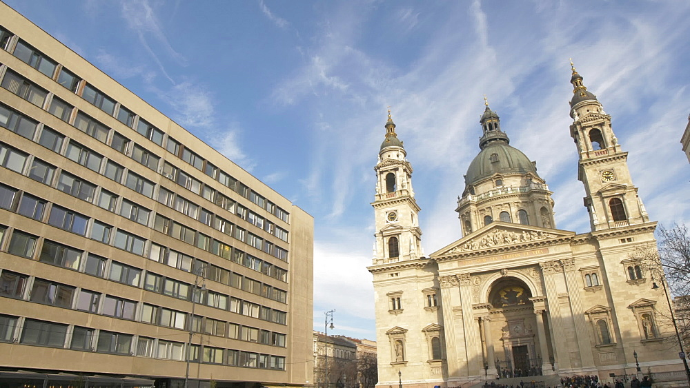 St. Stephen's Cathedral on Zrinyi U during winter, Budapest, Hungary, Europe
