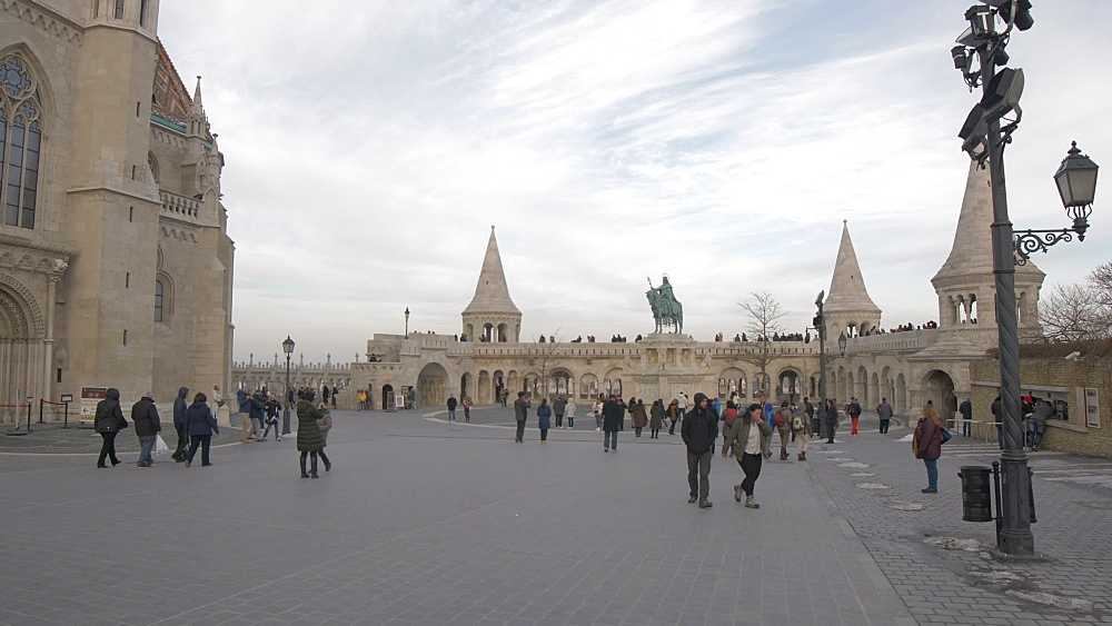 Matthias Church and Fishermans Bastion during winter, Castle District, UNESCO World Heritage Site, Budapest, Hungary, Europe