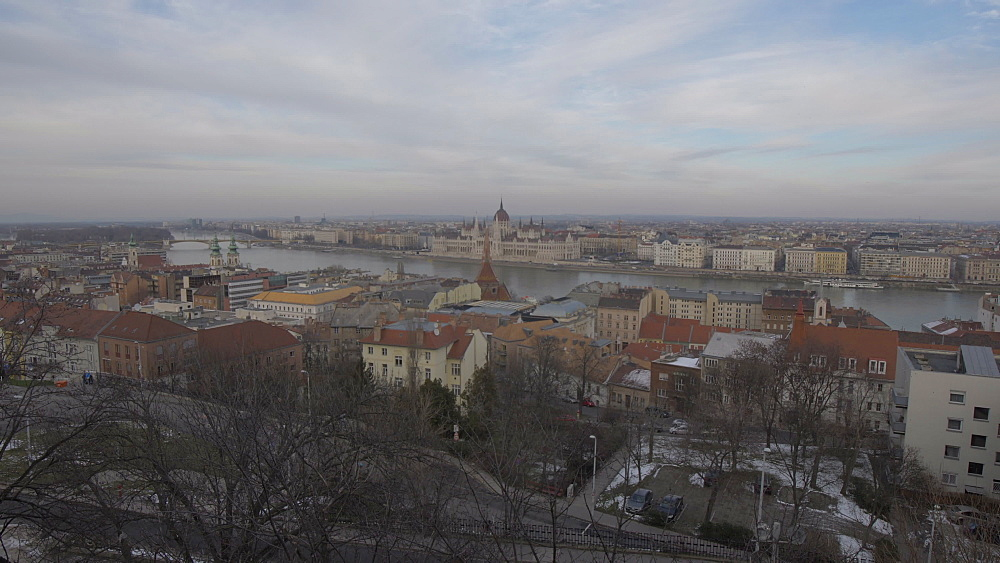 Hungarian Parliament from Fishermans Bastion during winter, Castle District, UNESCO World Heritage Site, Budapest, Hungary, Europe