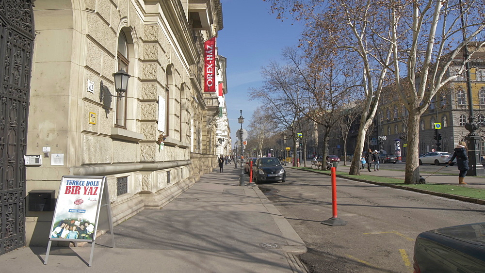 Street view on Andrassy during winter, UNESCO World Heritage Site, Budapest, Hungary, Europe