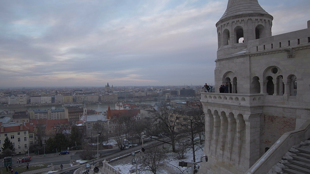 Roaming shot from Fishermans Bastion to River Danube during winter, Castle District, UNESCO World Heritage Site, Budapest, Hungary, Europe