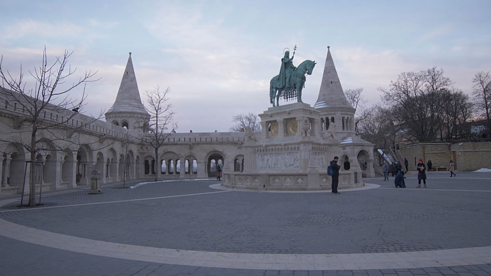 St. Istvan Szobra statue and Fishermans Bastion during winter, Castle District, UNESCO World Heritage Site, Budapest, Hungary, Europe
